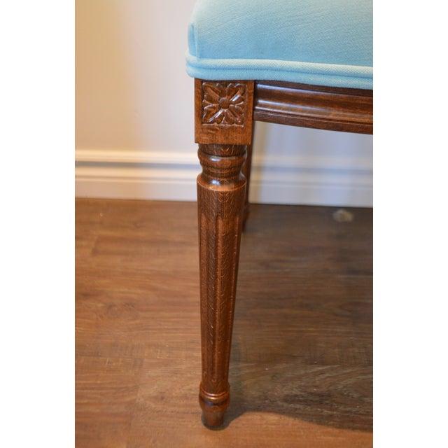 Beech Custom Order Louis XVI Style Square Back Dining Chair Upholstered in Kravet's Crypton Washable Velvet For Sale - Image 7 of 11