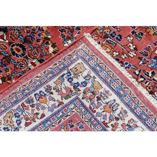 1990s Handmade Floral Medallion Persian Sarouk Rug - 4.11' x 7.2' For Sale - Image 5 of 6