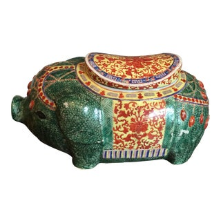Vintage Large Hand Painted Asian Ceramic Pig For Sale
