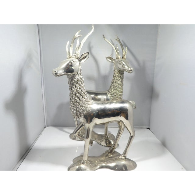 Silver Miniature Silvered Brass Deer Figurines - a Pair For Sale - Image 8 of 12