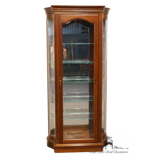 """Traditional 20th Century Traditional Jasper Cabinet Solid Colonial Cherry 37"""" Curio Display Cabinet For Sale - Image 3 of 12"""