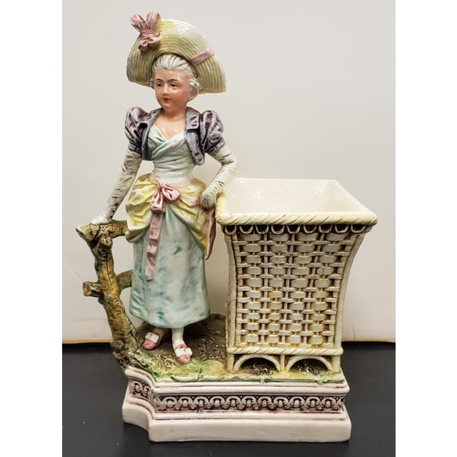 Antique White Late 19th Century French Majolica Porcelain Victorian Woman Matchstick Holder For Sale - Image 8 of 8