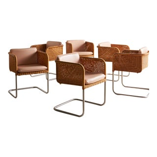 Set of 6 Cantilevered Chrome + Wicker Dining Chairs For Sale