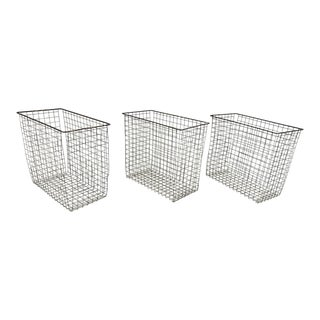 Vintage Industrial Wire Wastebasket - Set of 3