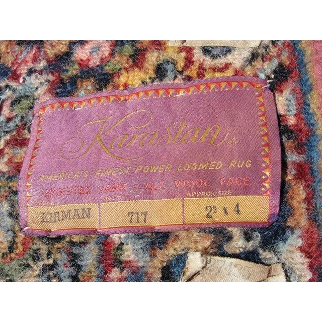 Textile Vintage Mid-Century Karastan Kirman Wool Area Rug - 2′2″ × 4′ For Sale - Image 7 of 8