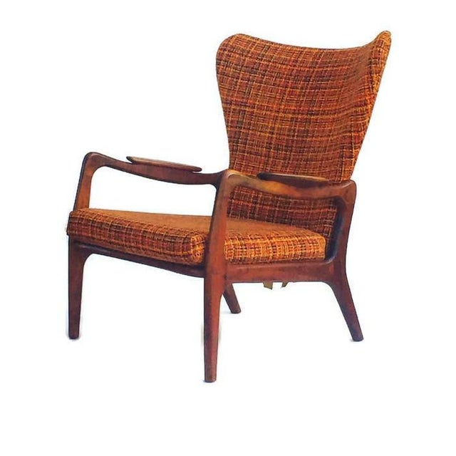 Mid Century Modern Wingback Chair Atomic Age Walnut Arm Chair All Original - Image 11 of 11