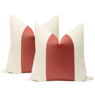 "22"" Coral Velvet Panel & Linen Pillows - a Pair For Sale"
