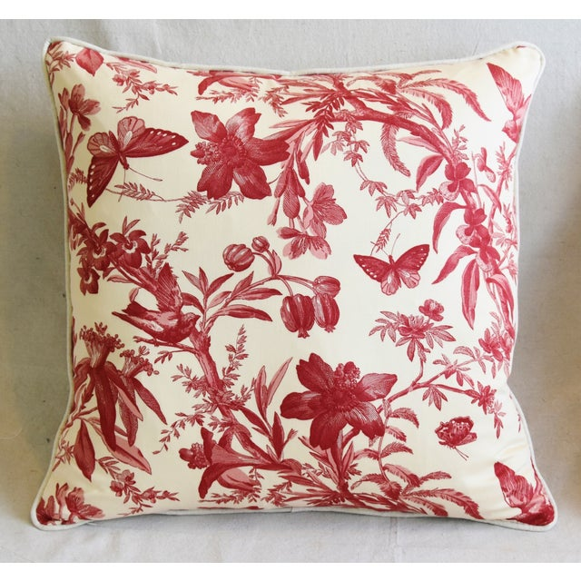 "Americana P. Kaufmann Aviary & Floral Toile Feather/Down Pillows 23"" Square - Pair For Sale - Image 3 of 13"