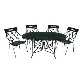 Salterini Style Wrought Iron Green Dining Set For Sale