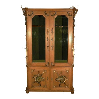 Black Forest Antler Gun Cabinet Ca. 1900 For Sale