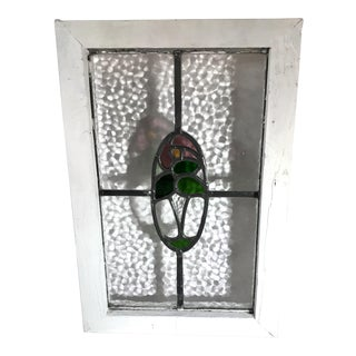 Vintage Mid Century Reclaimed Stained Glass Window For Sale