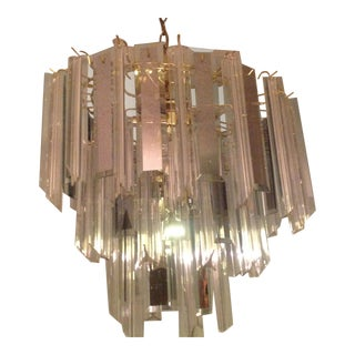 Mid 20th Century Lucite and Glass Icicle Chandelier
