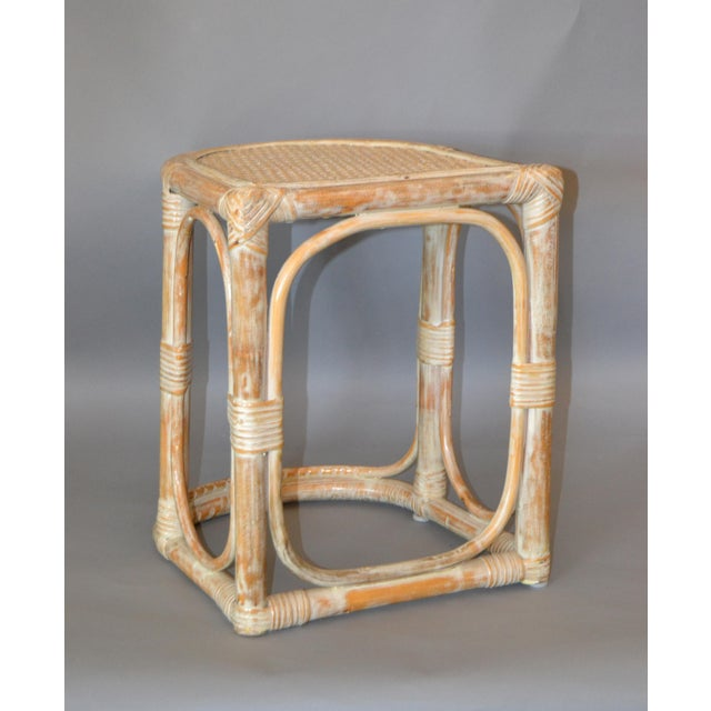 Wood Vintage Bamboo & Cane White Washed Side Table, End Table For Sale - Image 7 of 10