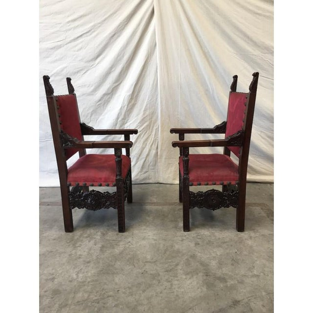 1920s Italian Renaissance Revival Carved Armchairs - a Pair For Sale - Image 5 of 8