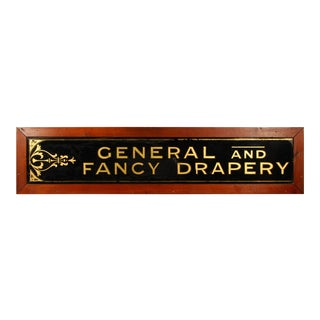 General and Fancy Drapery Reverse Painted Glass Sign For Sale