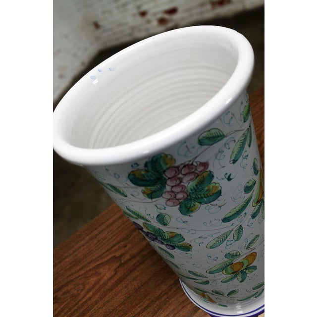 Vintage Italian Castelli Pottery Umbrella Stand Signed L. Pardi For Sale - Image 4 of 11