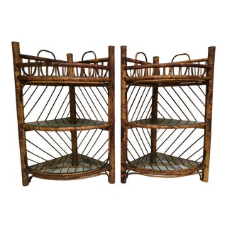 Antique Tortoise Shell Rattan Corner Shelves- a Pair For Sale