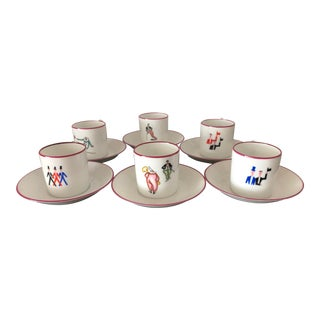 1960s Gio Ponti Style Modernist Espresso Cups and Saucers - Set of 6 For Sale