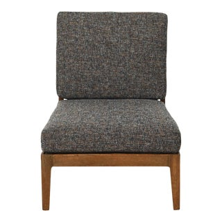 1960s Mid Century Reupholstered Slipper Chair in Eclipse Tweed For Sale