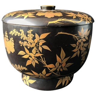 Japanese Lacquer Box With Lid or Bowl Black With Gold Decoration For Sale