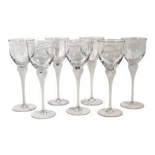 Mikasa Sea Mist Clear Frost Stem Water Goblets - Set of 7 For Sale