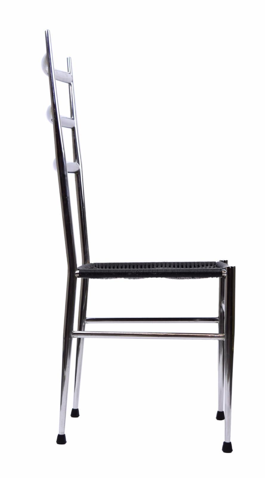 Italian Mid Century Modern Gio Ponti Style Dining Chairs   A Pair   Image 4