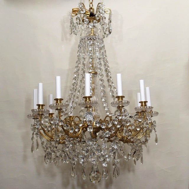 Antique French Late 19th Century Baccarat Crystal and Gold Bronze 12 Light Chandelier