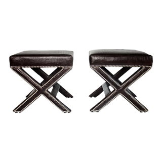 X-Bench in Faux Leather Alligator - a Pair For Sale