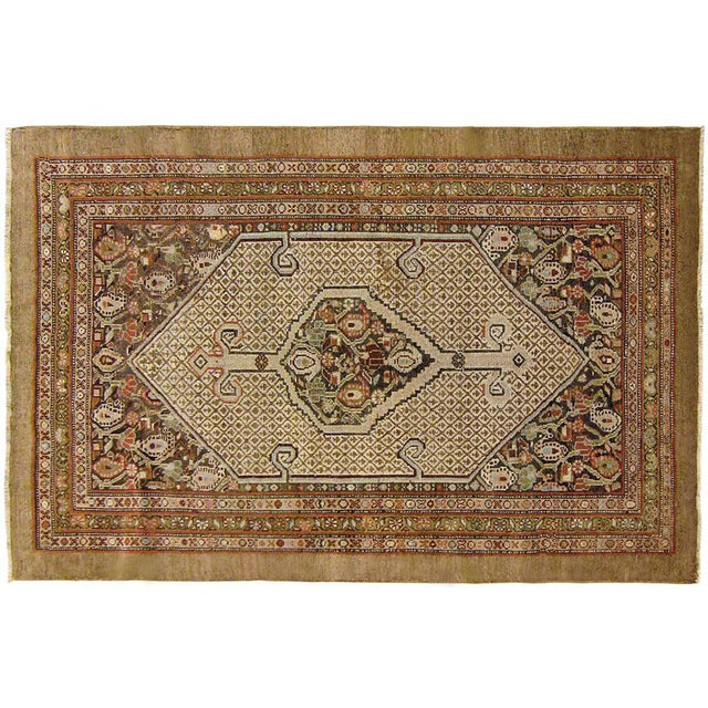 """1910s 1910s Antique Persian Hamadan Camel Hair Oriental Rug-3'11'x5'2"""" For Sale - Image 5 of 5"""