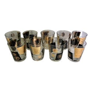 Set of 9 Cera 22k Gold and Black Coin Low Ball Glasses For Sale