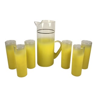 1960s Blendo Yellow Pitcher and Glasses - Set of 7 For Sale