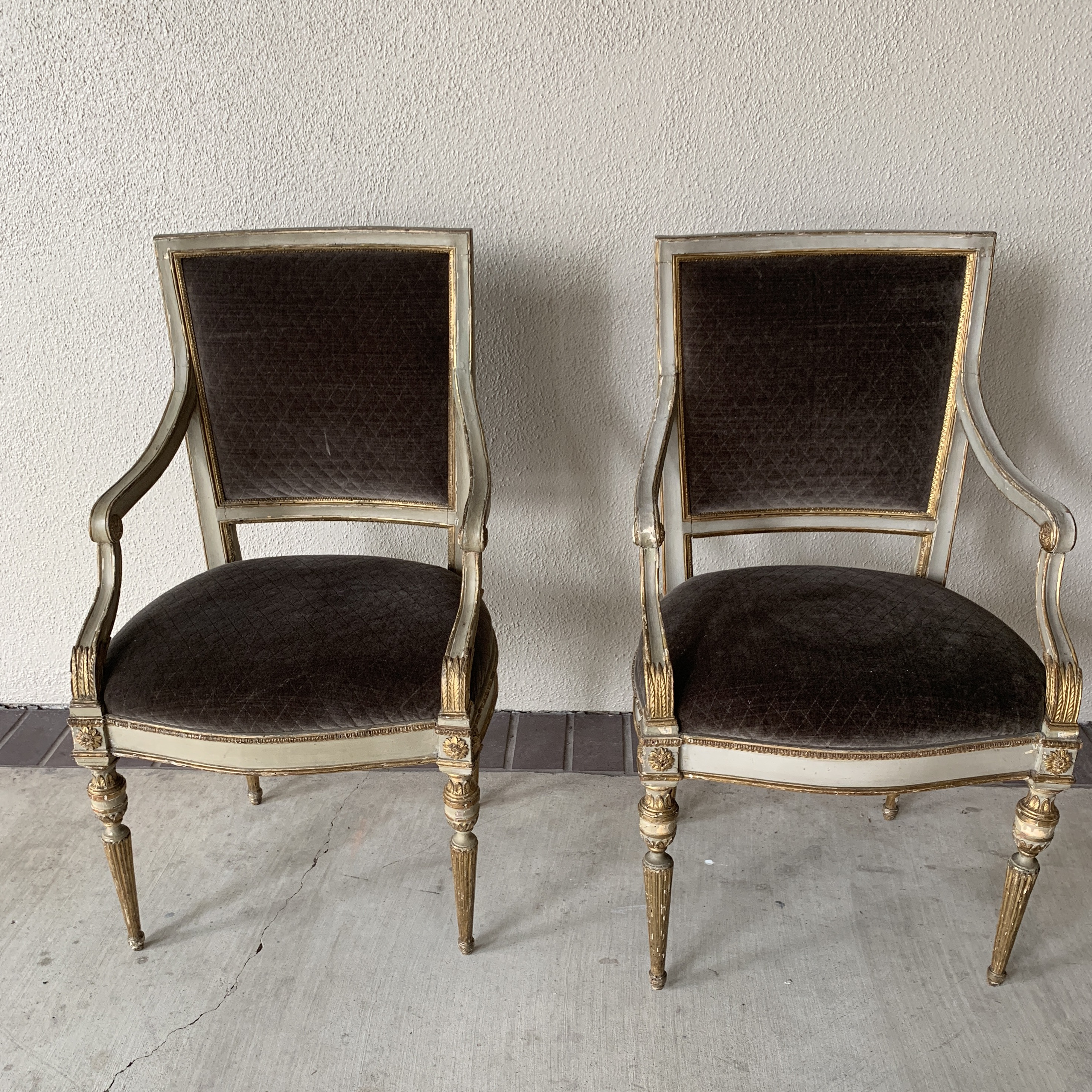 Italian 20th Century Italian Velvet Side Chairs   A Pair For Sale   Image 3  Of