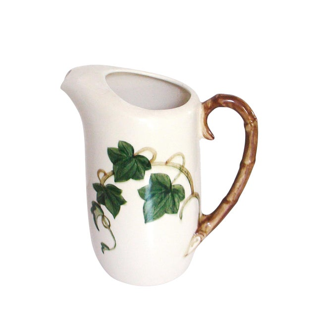 Ivy & Bamboo Porcelain Pitcher For Sale