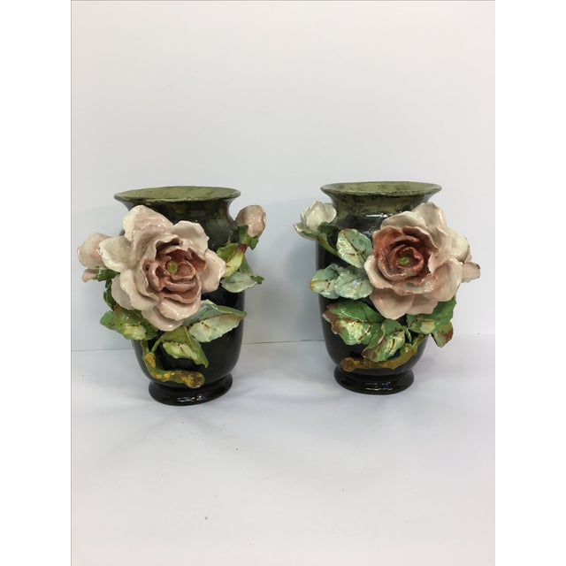 French Barbotine Applied Roses Flower Vases - Pair - Image 2 of 11