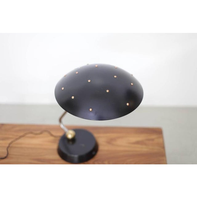 Mid-Century Modern Huge Black Table Lamp with Chrome, Copper and Brass Details For Sale - Image 3 of 6