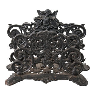 Art Nouveau Black Cast Iron Cherub Letter Holder For Sale