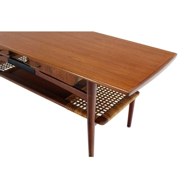 Lacquer Danish Modern Teak Coffee Table Cane Shelf Rolled Edges 4 Storage Drawers For Sale - Image 7 of 9