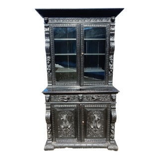 19th Century Ebonized Carved Oak Cabinet For Sale