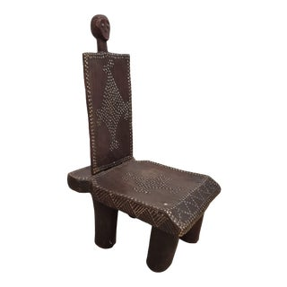 Antique African Mini Studded Tribal Chair For Sale