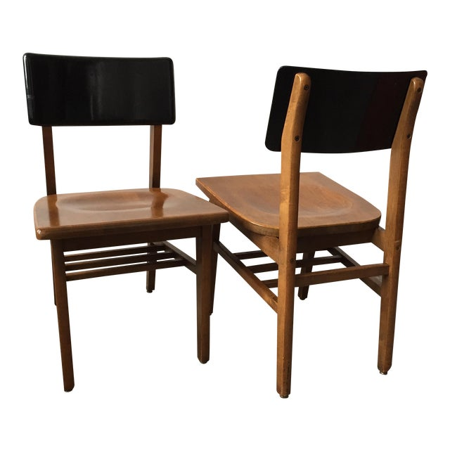 Vintage School House Chairs - A Pair - Image 1 of 4