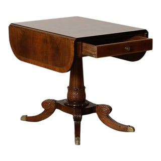 1920s Mid-Century Modern Classical Mahogany Drop-Leaf Table For Sale
