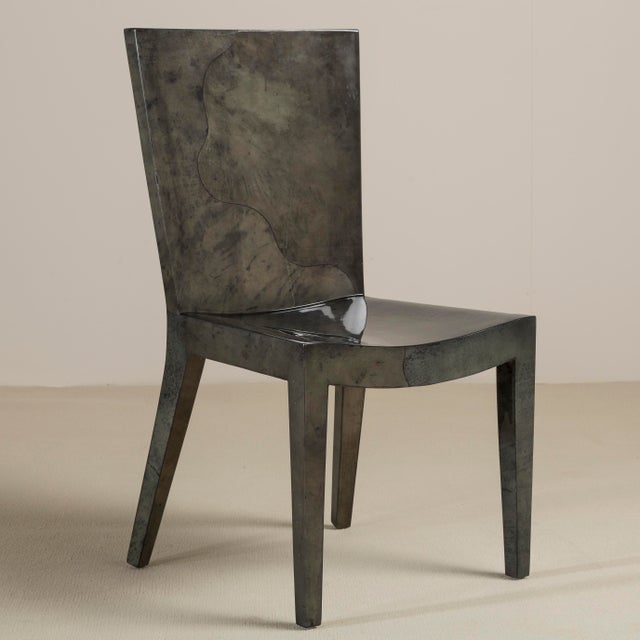 Gray A Set of Eight Grey Lacquered Goatskin Chairs 1980s, Pair Carvers, Six Side Chairs For Sale - Image 8 of 9