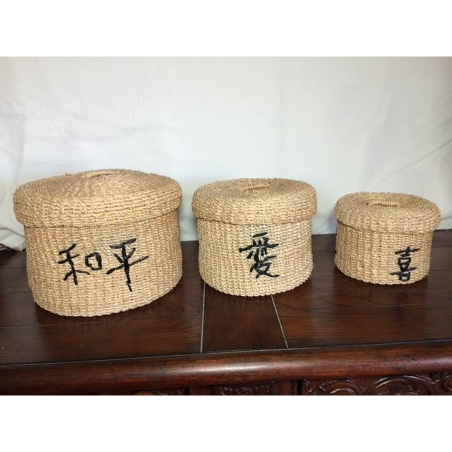 Asian Stacking Baskets - Set of 3 - Image 2 of 3