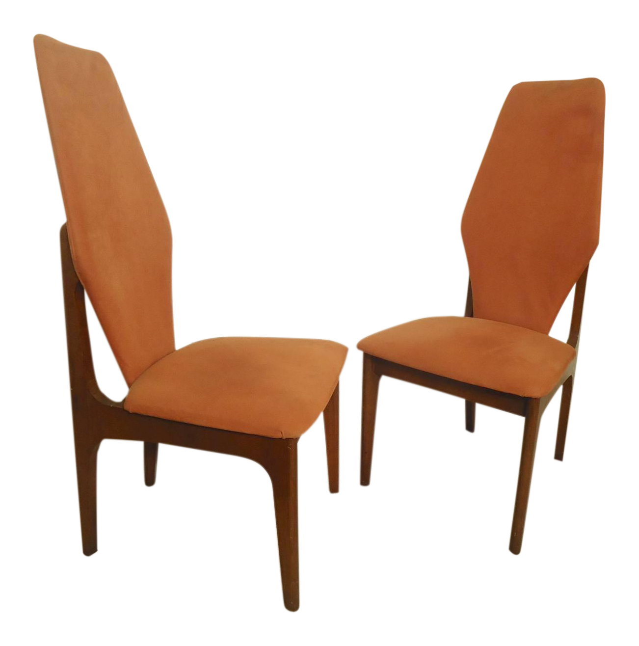 Adrian Pearsall Style Tall Back Chairs   A Pair