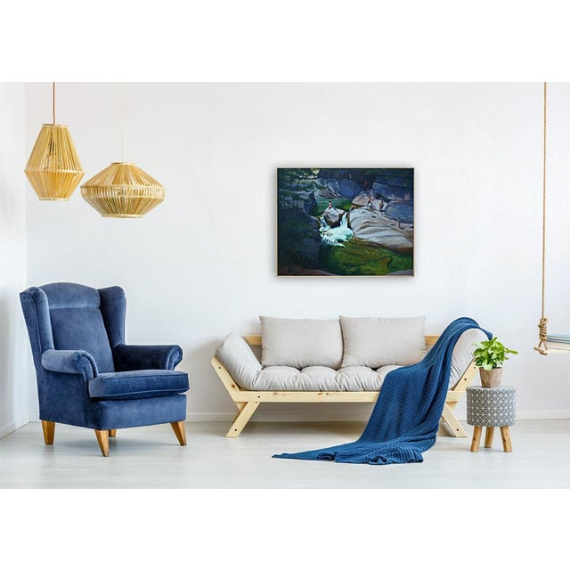 Upper Falls Swimming Hole in Vermont Contemporary Painting by Stephen Remick For Sale - Image 11 of 12