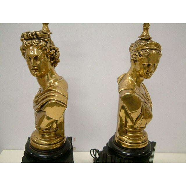 Brass Classical Bust Lamps - A Pair For Sale - Image 5 of 8
