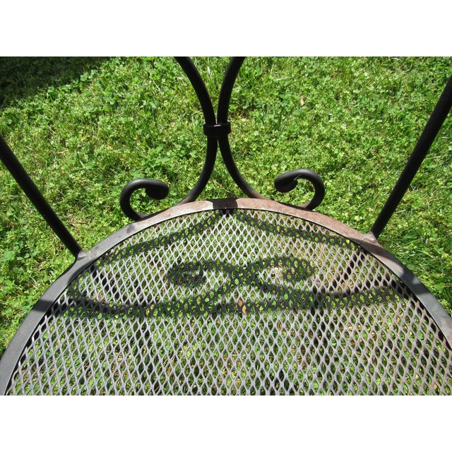 Black Woodard Parisian Style Wrought Iron Patio Outdoor Bistro Cafe Set- 3 Pieces For Sale - Image 8 of 11