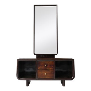 1940s Italian Parchment Console with Mirror For Sale