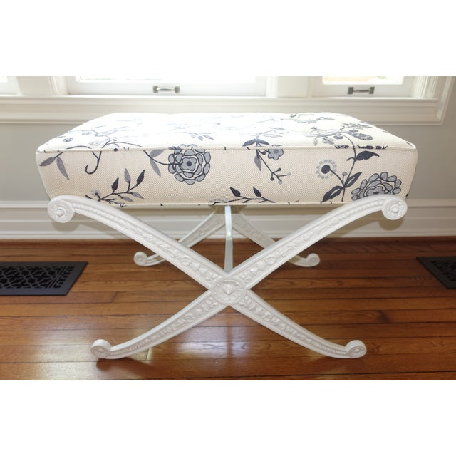 """Beautiful Crewel Upholstered Blue and White Cast Iron X base Bench with floral and bird motif. Measurements: 29.5""""W x 18""""D..."""