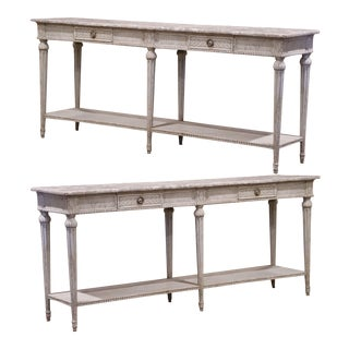 19th Century Louis XVI Carved Painted Consoles With Faux Marble Top - a Pair For Sale